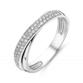 Excellent Jewelry Witgouden Ring met Overlappende Diamanten Strook