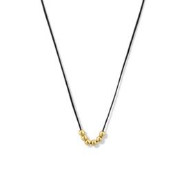 Zwart Katoenen Collier 14k Gouden Bolletjes | Lengte 60 cm