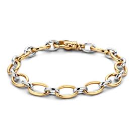 Excellent Jewelry Bicolor Armband met Witgouden Tussenschakel