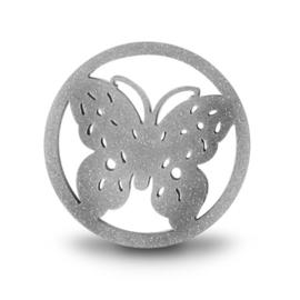 LOCKits Zilverkleurige Vlinder Munt van Edelstaal 33mm