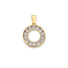 Excellent Jewelry Opengewerkte Cirkel Hanger van Geelgoud met Zirkonia's