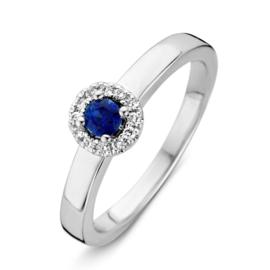 Excellent Jewelry Brede Witgouden Ring met Saffier en Diamanten