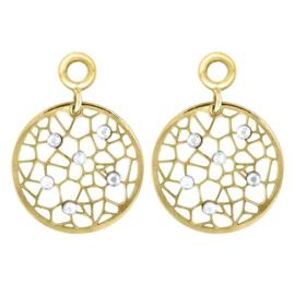 Goudkleurige Creoli Hangers met Zirkonia Dew van MY iMenso