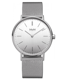 Zilverkleurig Basic 36 Dames Horloge met Milanese Horlogeband van M&M