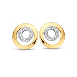 Excellent Jewelry Bicolor Opengewerkte Cirkels Oorstekers met Diamanten
