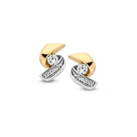 Excellent Jewelry Zirkonia Oorstekers van Witgoud met Geelgoud