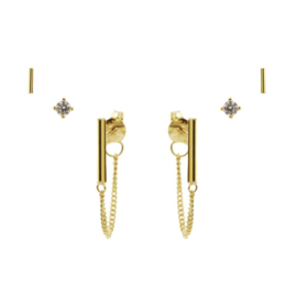 Karma Jewelry – Zesdelige Plain Perfection Earparty Set - Gold