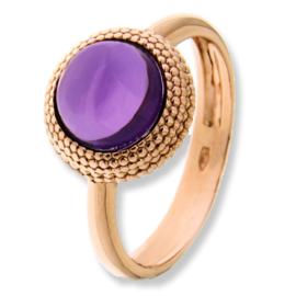 Excellent Jewelry Roségouden Ring met Paarse Amethist