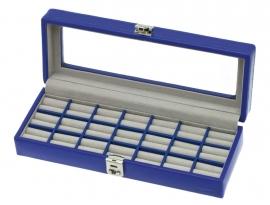 Korenblauwe Leren Ringendoos van het merk DAVIDTS