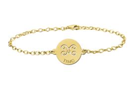 Gouden Armband met Ronde Tweeling Sterrenbeeld Naamhanger > Names4ever