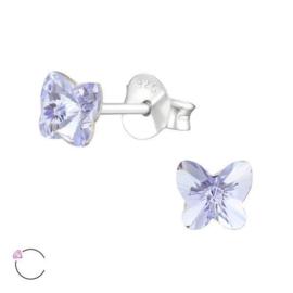 Zilveren Kinderoorbellen met Vlindervormig Swarovski Kristal