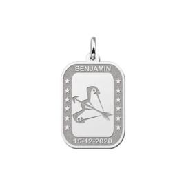 Rechthoekige Boogschutter Sterrenbeeld Hanger van Zilver
