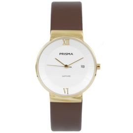 Prisma Goudkleurig Dames Horloge met Brede Bruin Lederen Horlogeband