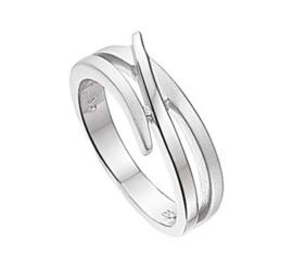 Gepolijst met Matte Diamant Ring van Gerhodineerd Zilver