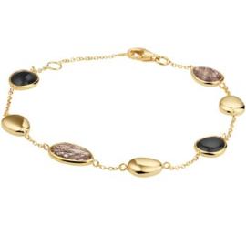 Gouden Armband met Diverse Stenen Decoratie