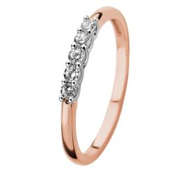 Roségouden met Witgouden Zirkonia Rij Ring voor Dames