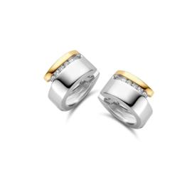 Excellent Jewelry Oorringen van Zilver met Goud en Kleurloze Zirkonia's