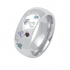 Ring met Gekleurde Zirkonia's van C MY STEEL - Graveer Ring