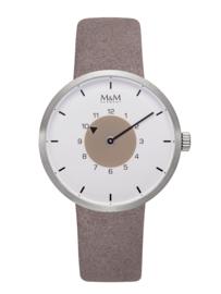 Zilverkleurig M&M Dames Horloge met Grijs Lederen Horlogeband