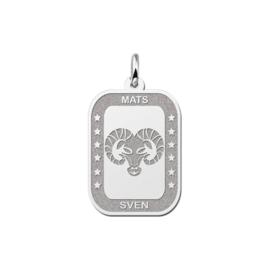 Rechthoekige Ram Sterrenbeeld Hanger van Zilver