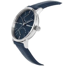 Robuust Zilverkleurig Prisma Heren Horloge met Donkerblauwe Horlogeband