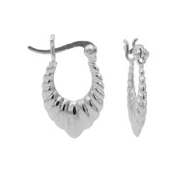 Zilveren Geribbelde Druppelvormige Oorringen   Karma Jewelry