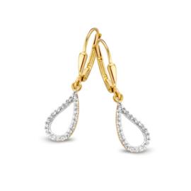 Excellent Jewelry Geelgouden Oorhangers met Zirkonia Lus