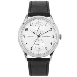 Zilverkleurig Edelstalen Heren Horloge met Zwarte Horlogeband