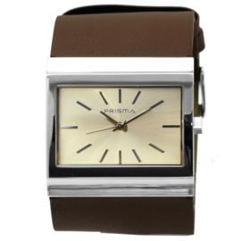 Prisma Rechthoekig Breed Dames Horloge met Bruin Lederen Horlogeband
