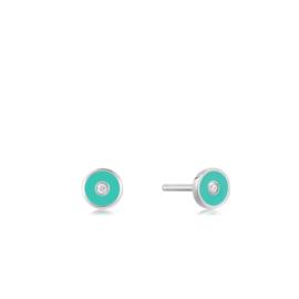 Ania Haie Bright Future Zilveren Disc Oorstekers met Turquoise Emaille