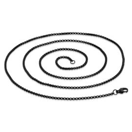 Zwart edelstalen box ketting met een lengte van 75cm