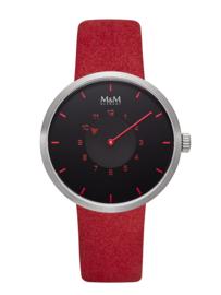Zilverkleurig M&M Dames Horloge met Rood Lederen Horlogeband
