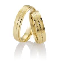 Gouden Nuwa Gematteerde Trouwringen Set met Diamanten