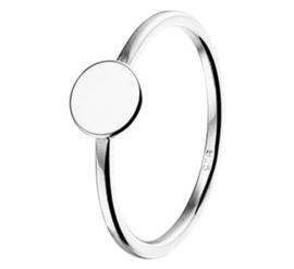 Slanke Zilveren Ring met Rond Plaatje en Rhodium