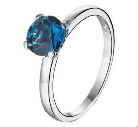 Witgouden Ring met Blauwe Topaas Edelsteen