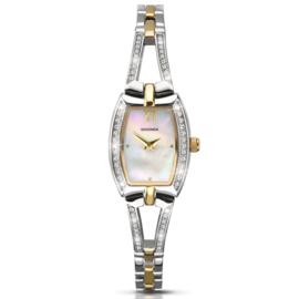 Zilver- en Goudkleurig Dames Horloge met Parelmoer en Sierdiamanten