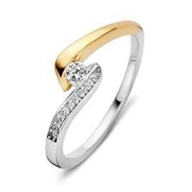 Excellent Jewelry Bicolor Ring met Zirkonia's