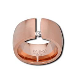 Brede Roségoudkleurige Ring met Uitsparing en Kleine Zirkonia