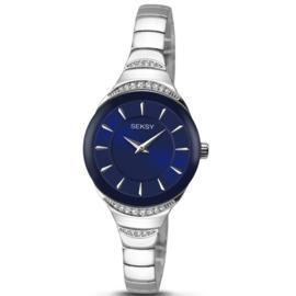 Zilverkleurig Dames Horloge met Blauwe Wijzerplaat en Sierdiamanten