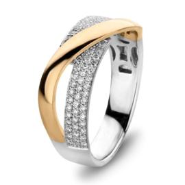 Excellent Jewelry Bicolor Ring met Overlappende Geelgouden Strook