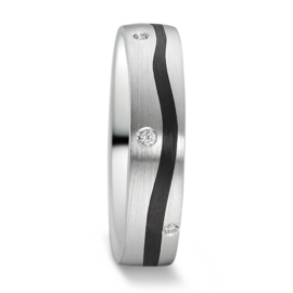 Matte Zilveren Dames Trouwring met Golvende Carbon Strook en Diamanten