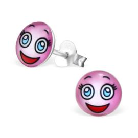 Smiley Oorbellen » Lachend Gezicht met Blauwe Ogen