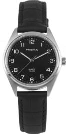 Prisma Zilverkleurig Dames Horloge met Zwart Leder