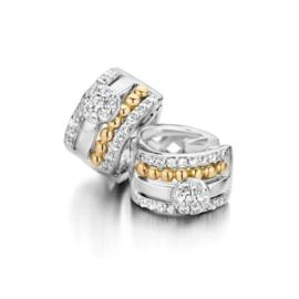 Excellent Jewelry Creolen van Zilver met Goud en Zirkonia's