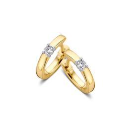 Excellent Jewelry Geelgouden Creolen met 0,10 crt. Briljant