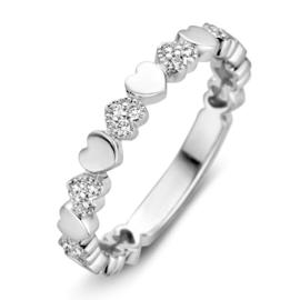 Excellent Jewelry Witgouden Hartjes Ring met Briljanten voor Dames