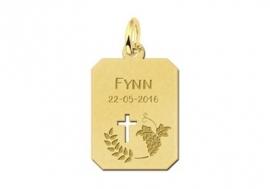Names4ever Gouden Communie Graveerhanger met Kruis