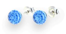 Blauwe Swarovski Bol Oorstekers van Spark Jewelry