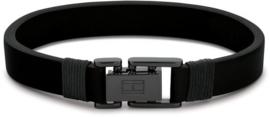 Zwarte Lederen Heren Armband van Tommy Hilfiger