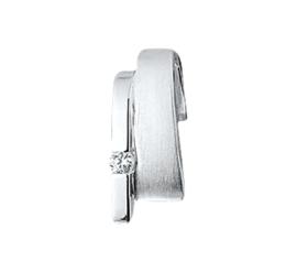 Rechthoekige Matte met Gepolijste Zilveren Hanger met Zirkonia